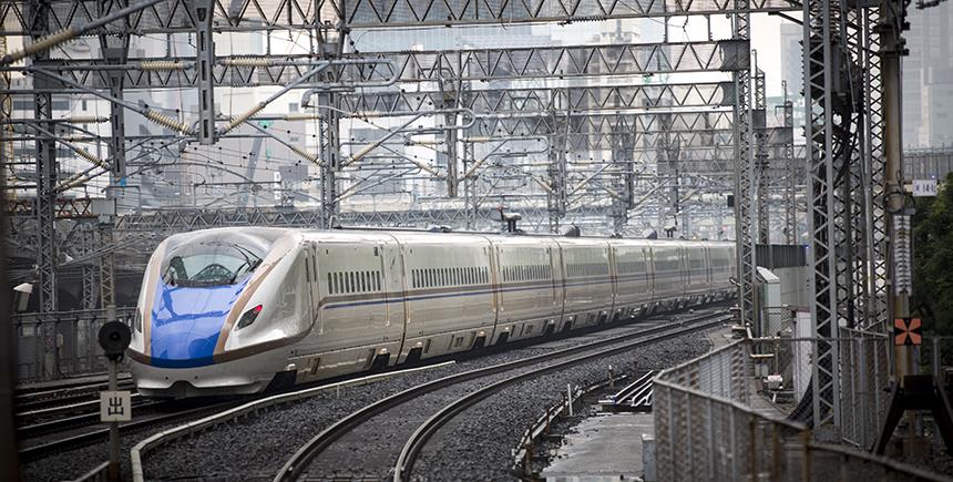 The Hokuriku Shinkansen pulls into Tokyo Station