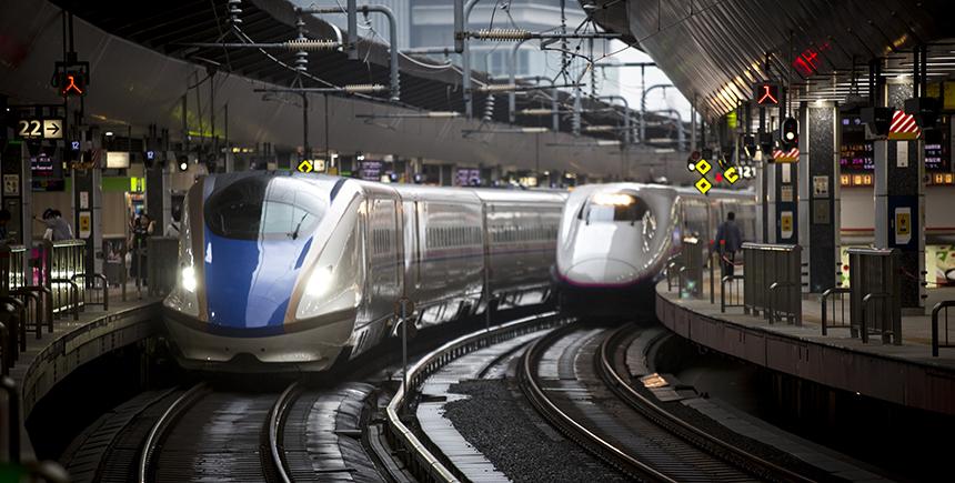 The Hokuriku Shinkansen pulling up the track alongside the E1 Series