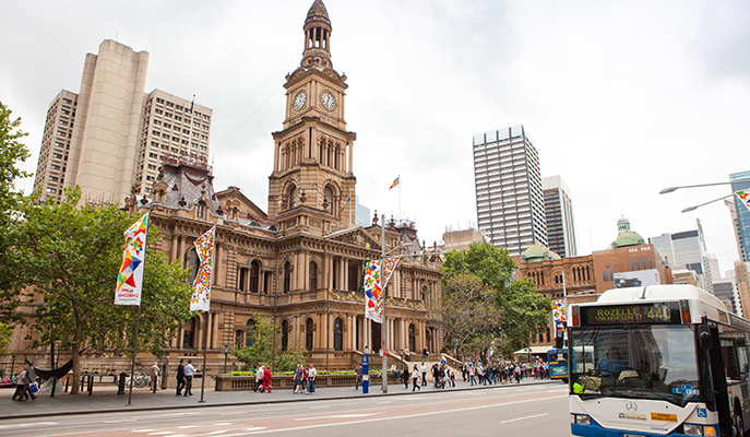 The Sydney Town Hall and CBD