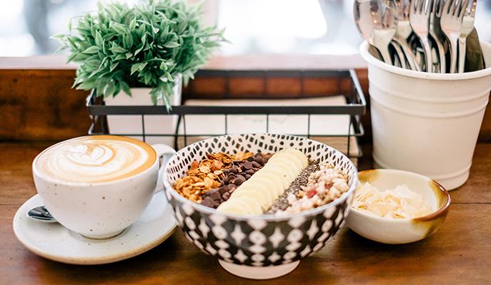 A breakfast spread at Brekkie