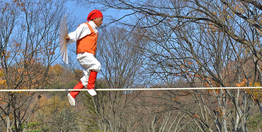 A tightrope walking exhibition