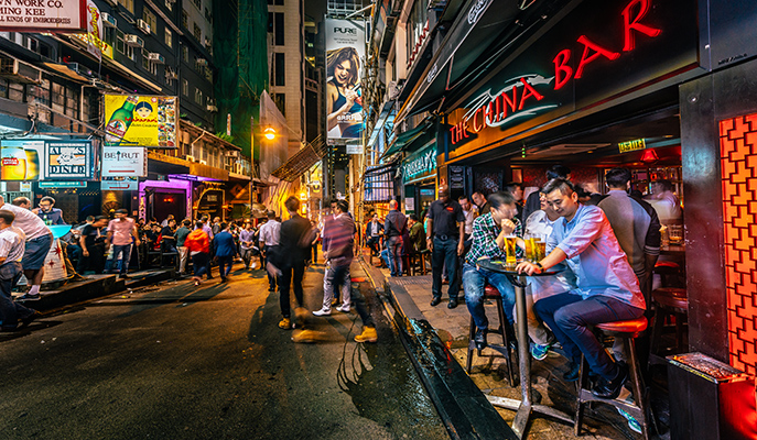 Hong Kong's buzzy downtown nightlife