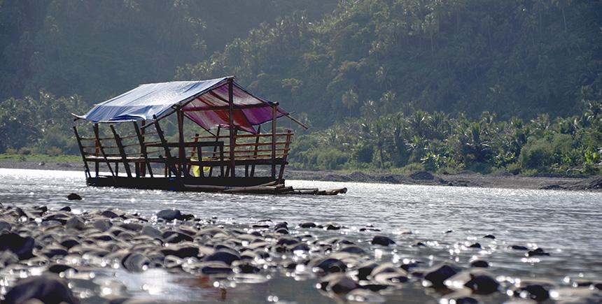 Floating cottages on Agos River