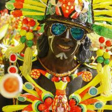 A tribal dancer in full gear