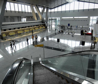 A view the terminal 3 of the Ninoy Aquino International Airport in Manila on July 22, 2008.   After being mothballed  for six years, the newly-opened Ninoy Aquino International Airport Terminal 3 (NAIA-3) began partial operations on July 22 with a total of 16 domestic flights on schedule.    AFP PHOTO/LUIS LIWANAG (Photo credit should read LUIS LIWANAG/AFP/Getty Images)