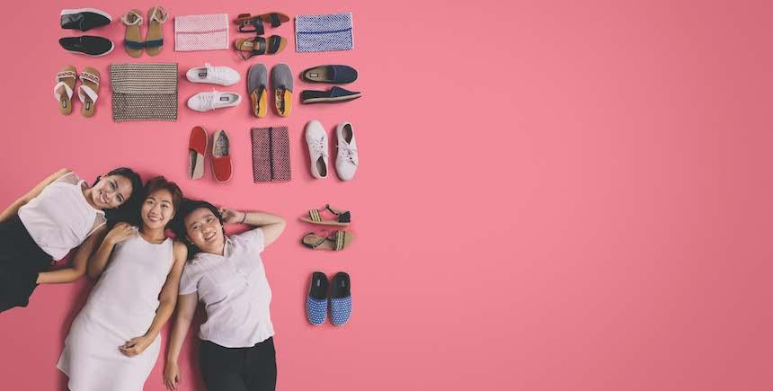 Janine Chong, Bernadee Uy, and Paola Savillo of Habi Footwear work with weavers to turn floor mats into footwear material