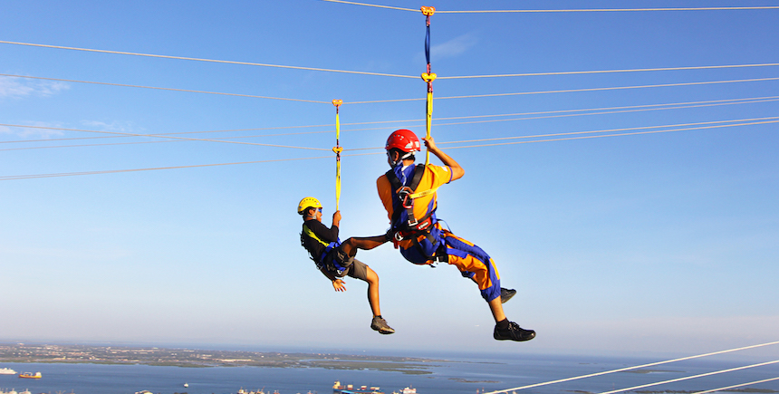 At the Crown Regency Hotel and Towers in Cebu, you can zip across two buildings on a zipline.