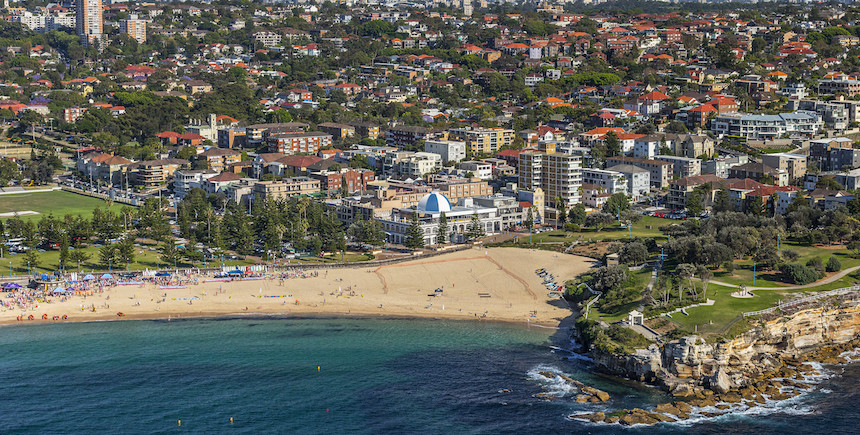 An aerial view of Coogee Beach (Photo: Destination NSW)