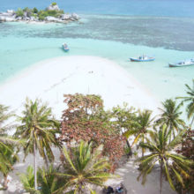 Claudy day in Belitung's beach - the view from the top of lighthouse in Lengkuas Island.
