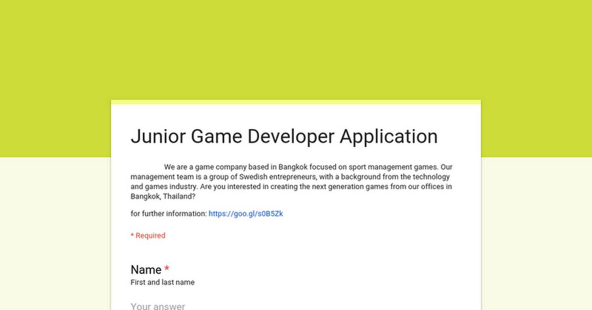 [รับสมัครงาน] Stadia Gaming (Thailand) ประกาศรับสมัคร Junior Game Developer !!