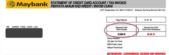 Credit card billing date / statement date