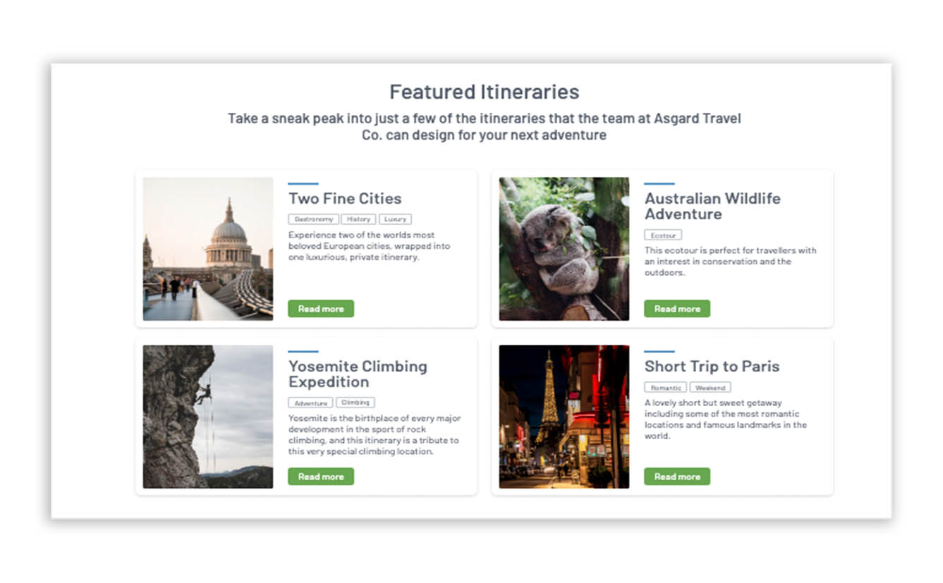 example itinerary in website