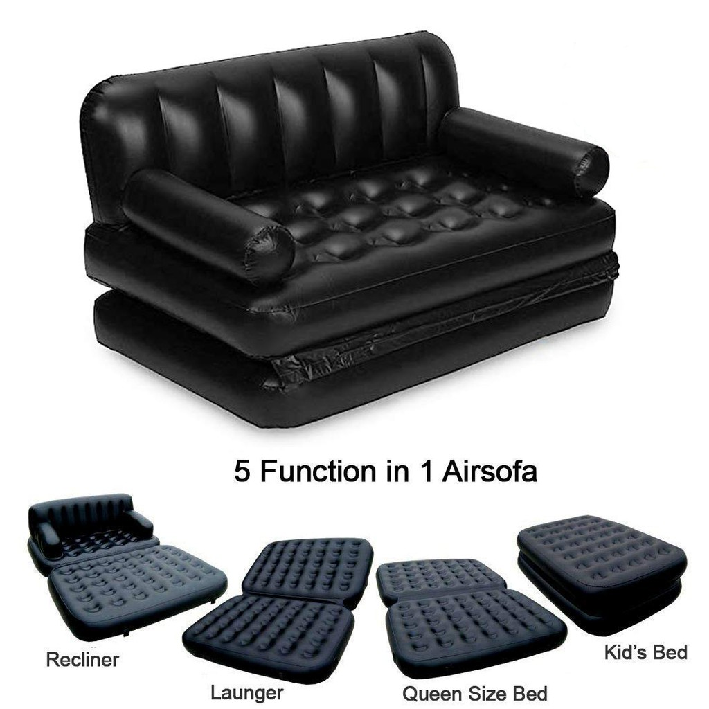5 in 1 Air Sofa Cum Bed – Black