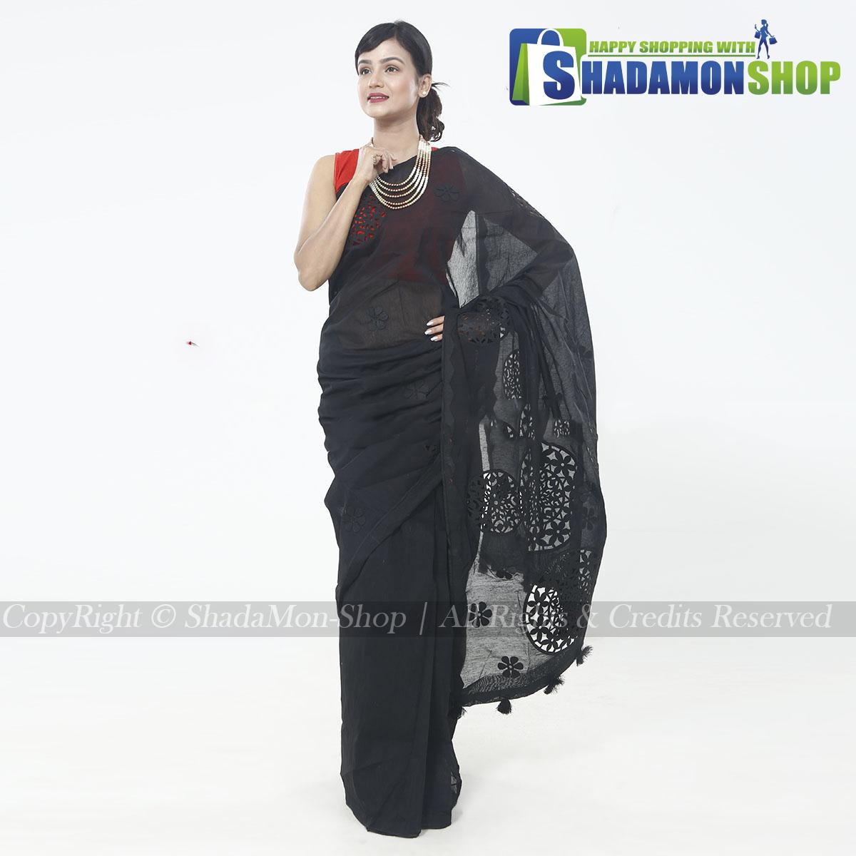 Half Silk Black Aplik Design Exclusive Sharee For Women