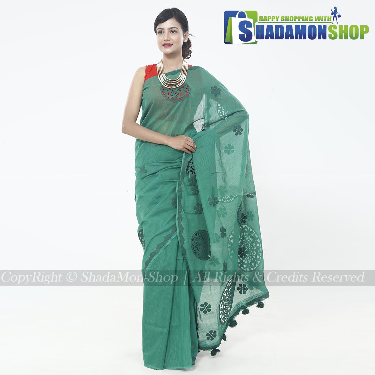 Half Silk  Deep Green Aplik Design Exclusive Sharee For Women