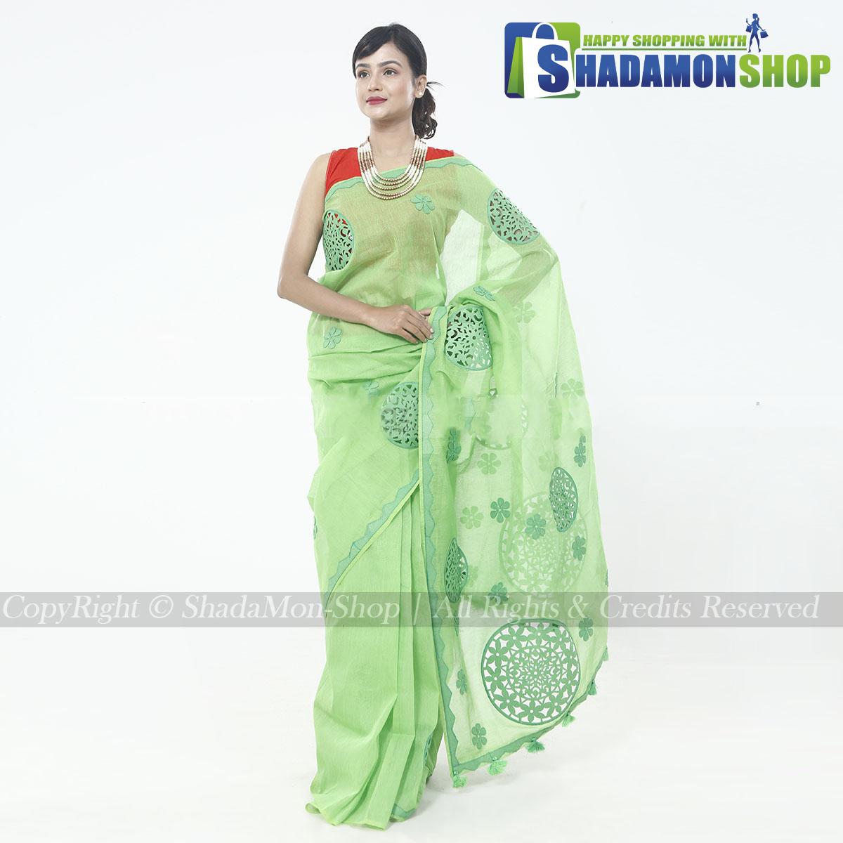Half Silk Green Aplik Design Exclusive Sharee For Women