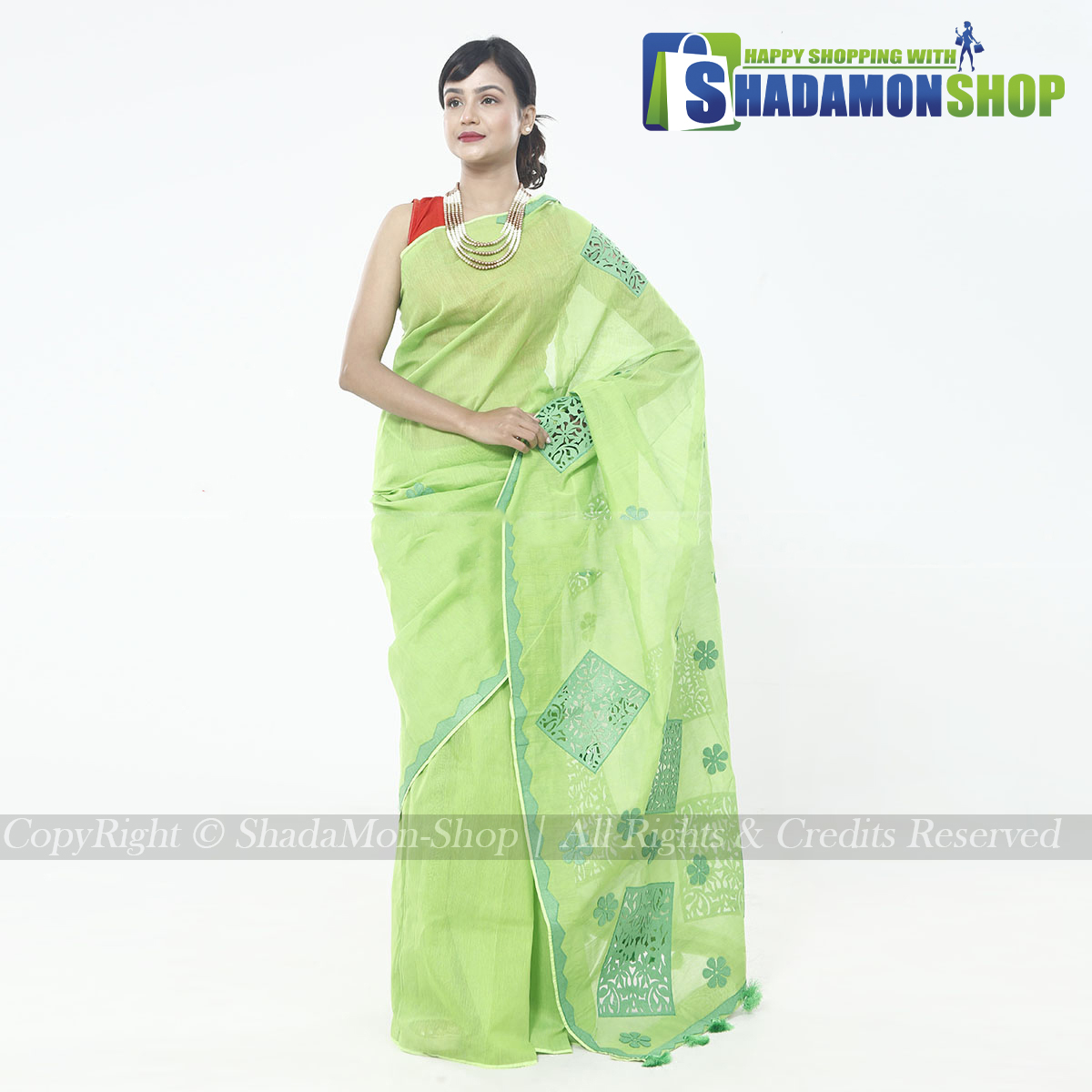 Half Silk Lemon Aplik Design Exclusive Sharee For Women