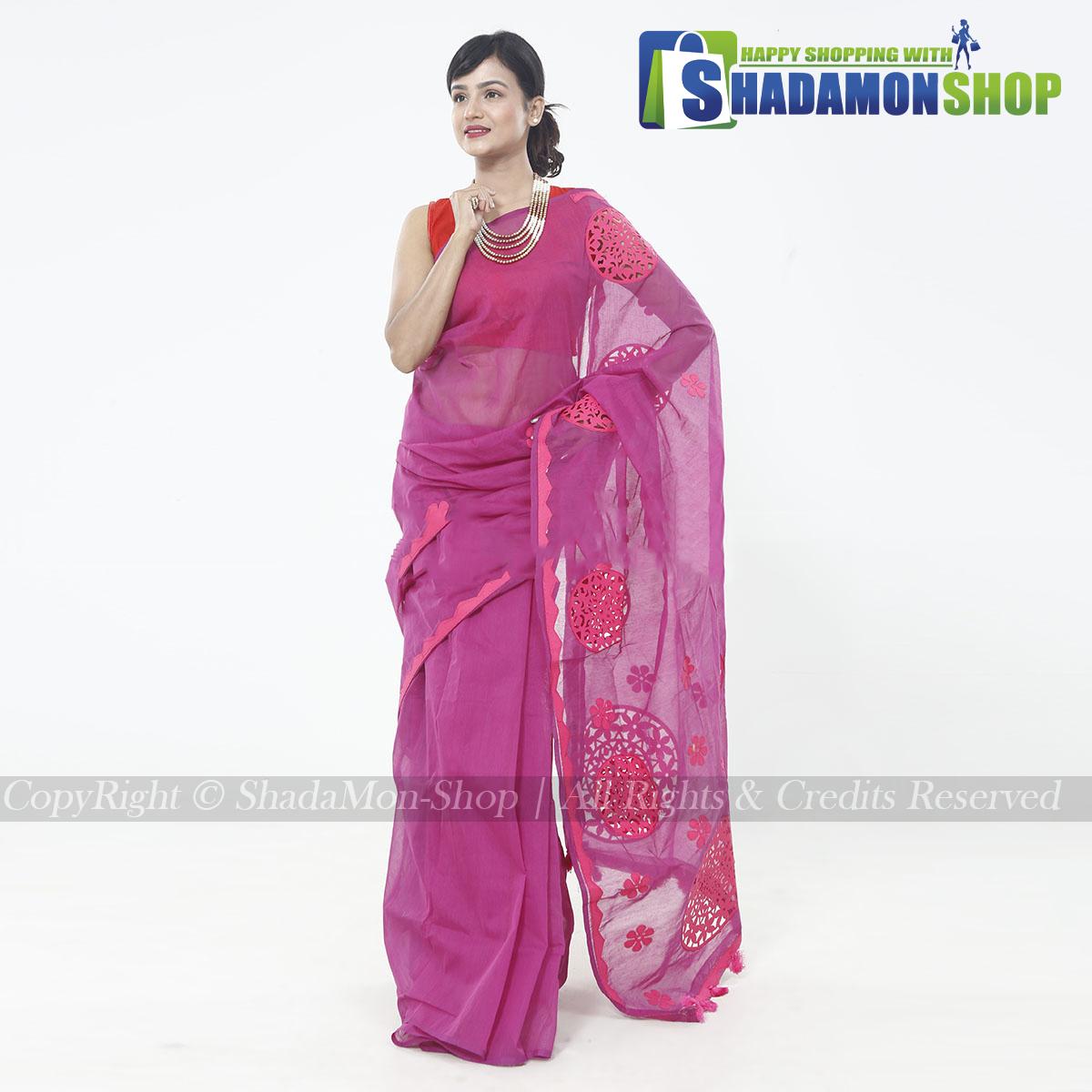 Half Silk Pink Aplik Design Exclusive Sharee For Women