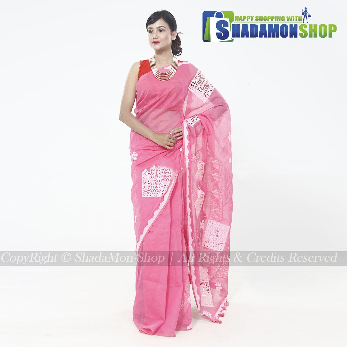 Half Silk Light Pink Aplik Design Exclusive Sharee For Women