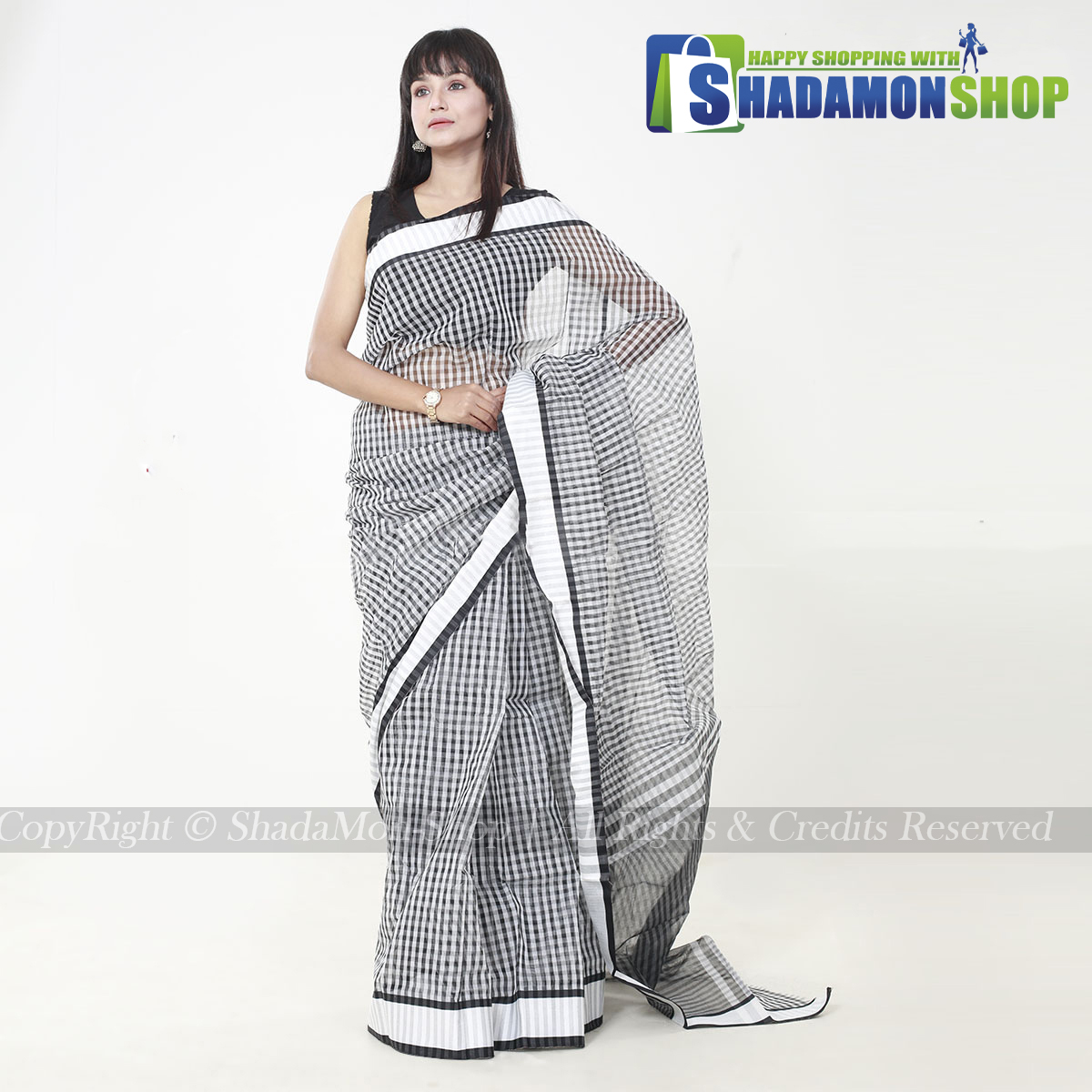 Half Silk Black And Silver Chack New Design Sharee For...