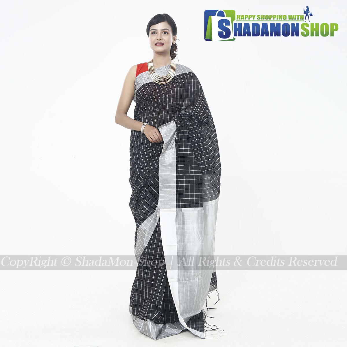 Dhupiyan Vip Half Silk  Black Chack Sharee For Women's