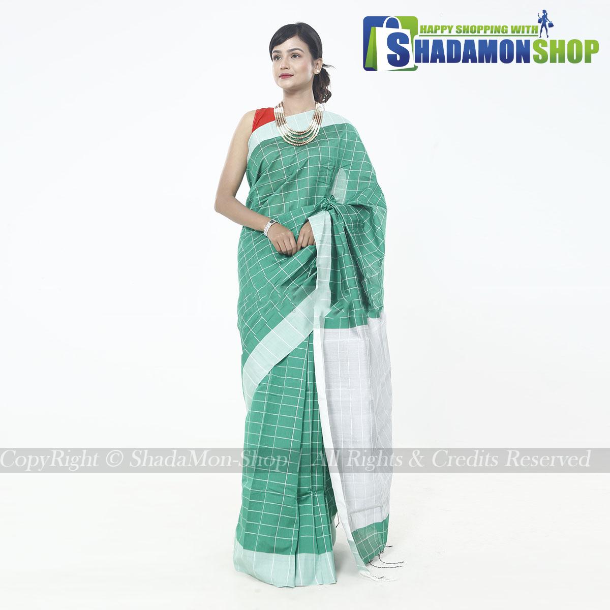 Dhupiyan Vip Half Silk Green Chack Sharee For Women's