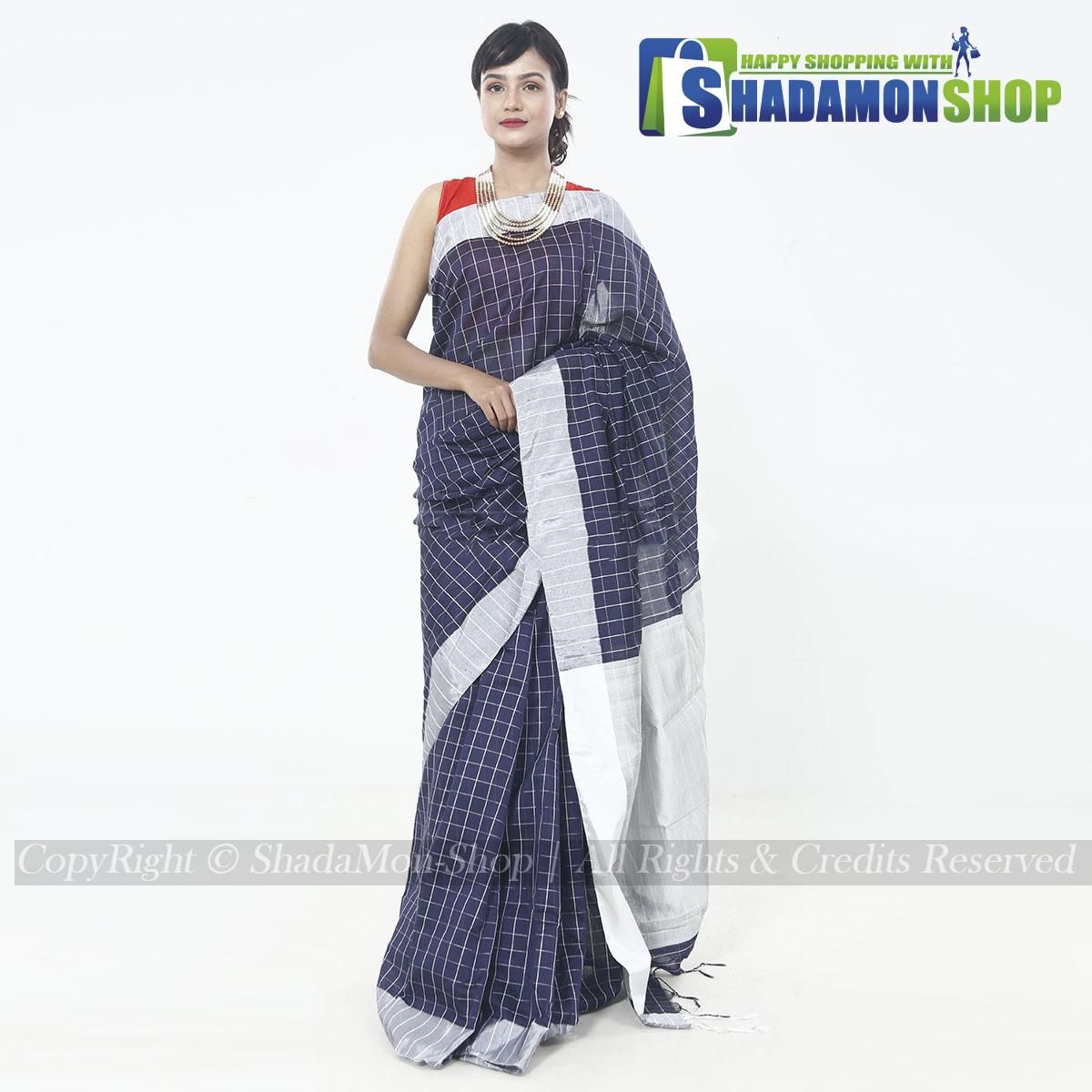 Dhupiyan Vip Half Silk Deep Blue Chack Sharee For Women's
