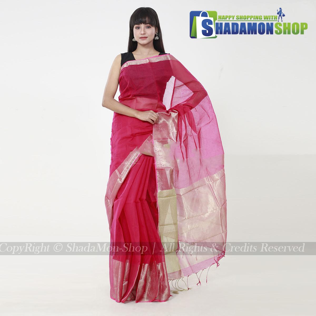 Women's Deep Pink Colour Soft Half Silk Sharee