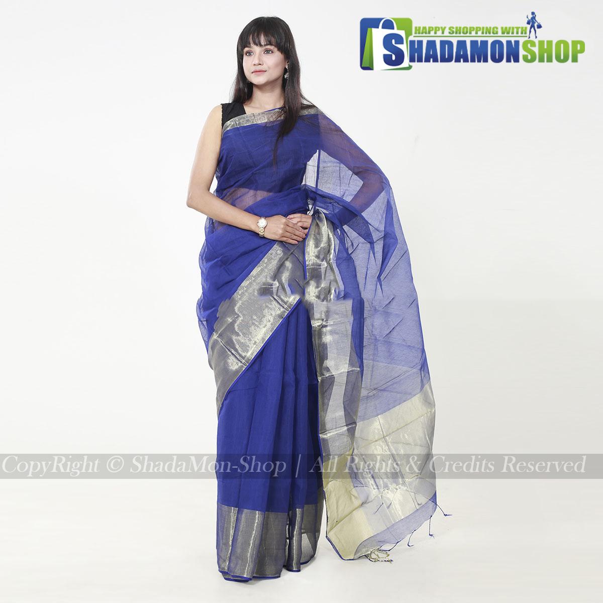 Women's Deep Blue Colour Soft Half Silk Sharee