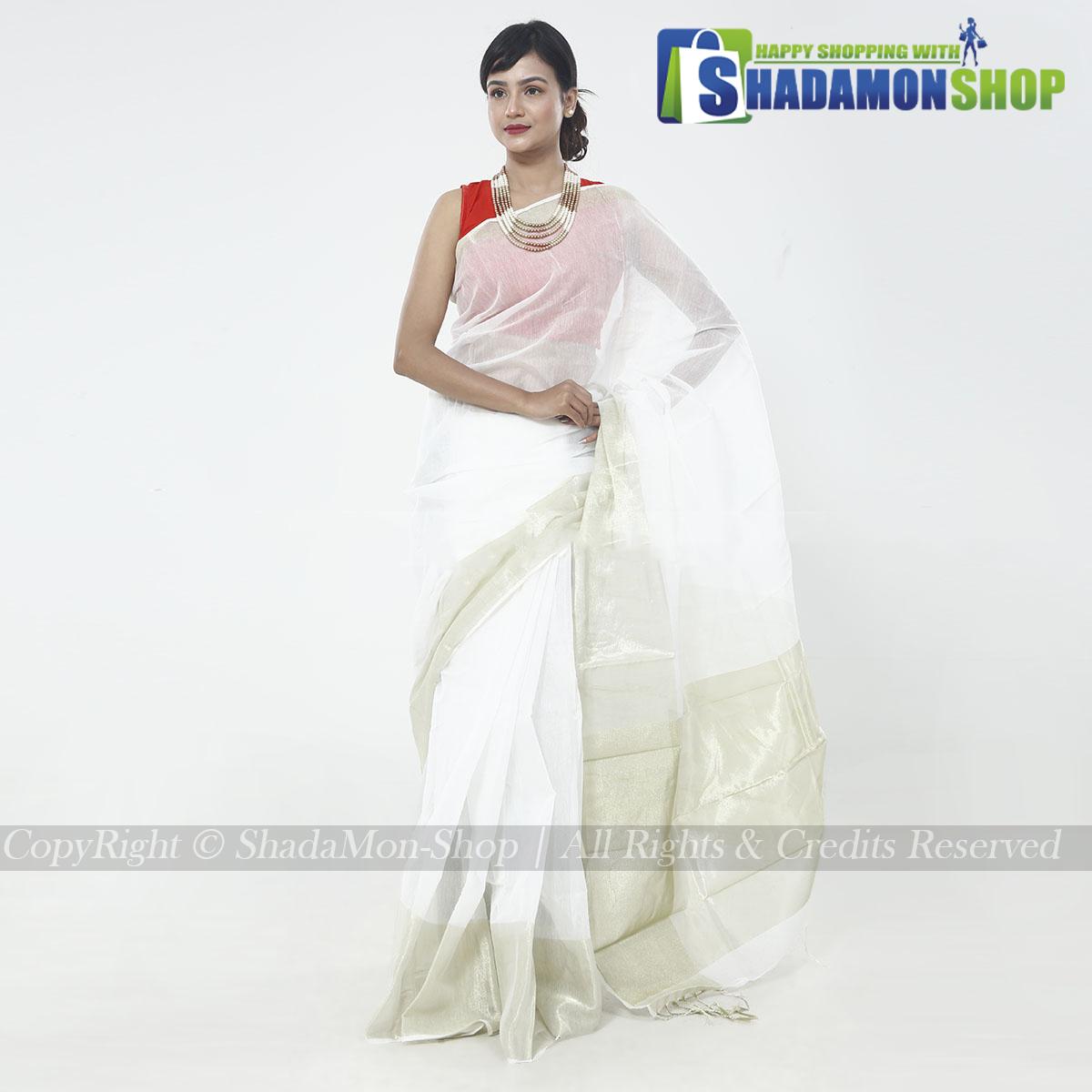 Women's White Colour Soft Half Silk Sharee