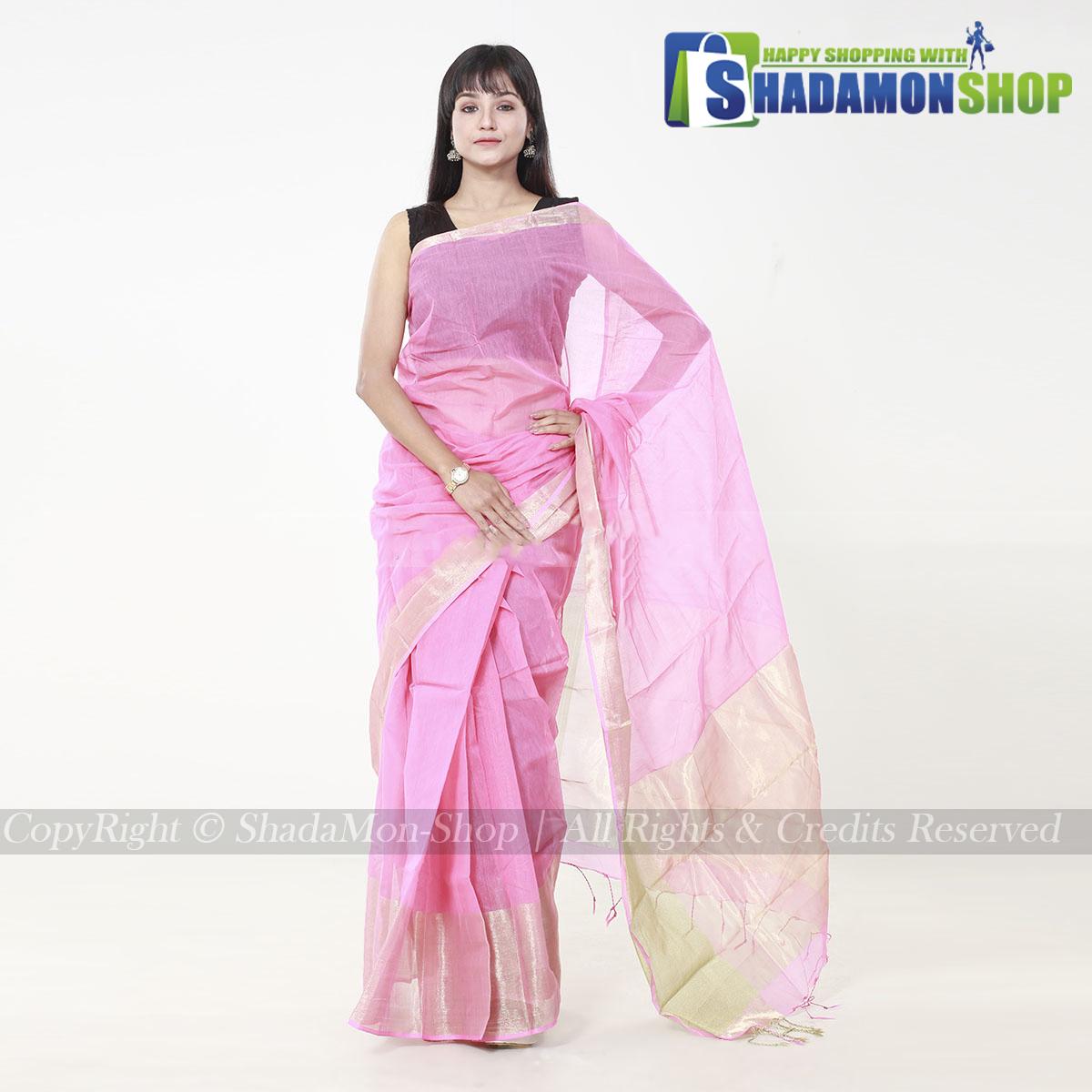 Women's Pink Colour Soft Half Silk Sharee