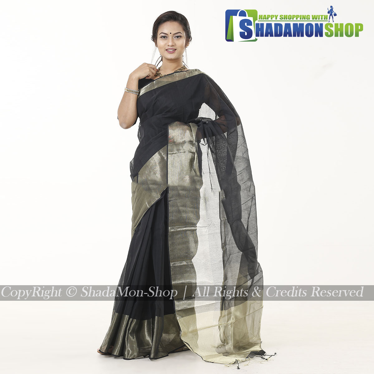 Women's Black Colour Soft Half Silk Sharee