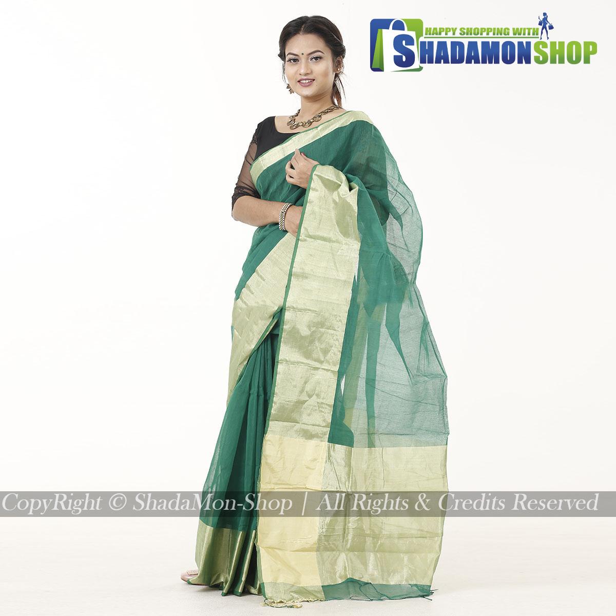 Women's Green Colour Soft Half Silk Sharee