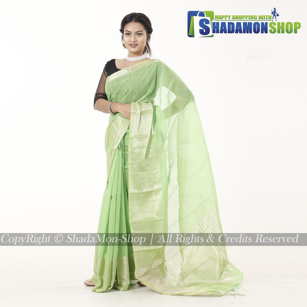 Women's light Green Colour Soft Half Silk Sharee