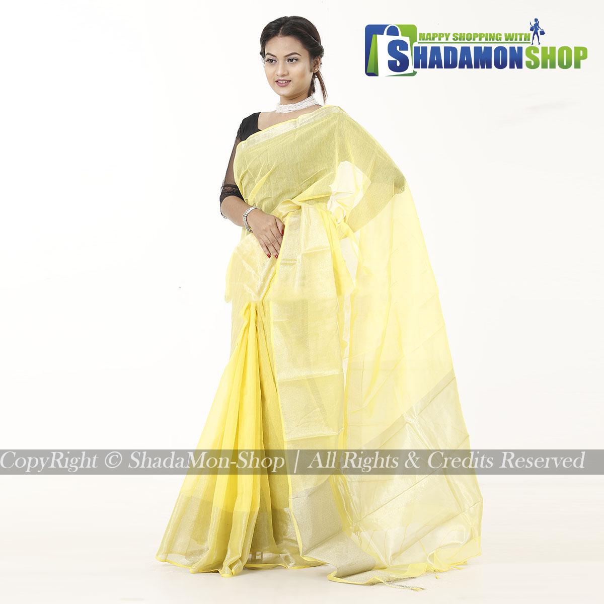 Women's Yellow Colour Soft Half Silk Sharee