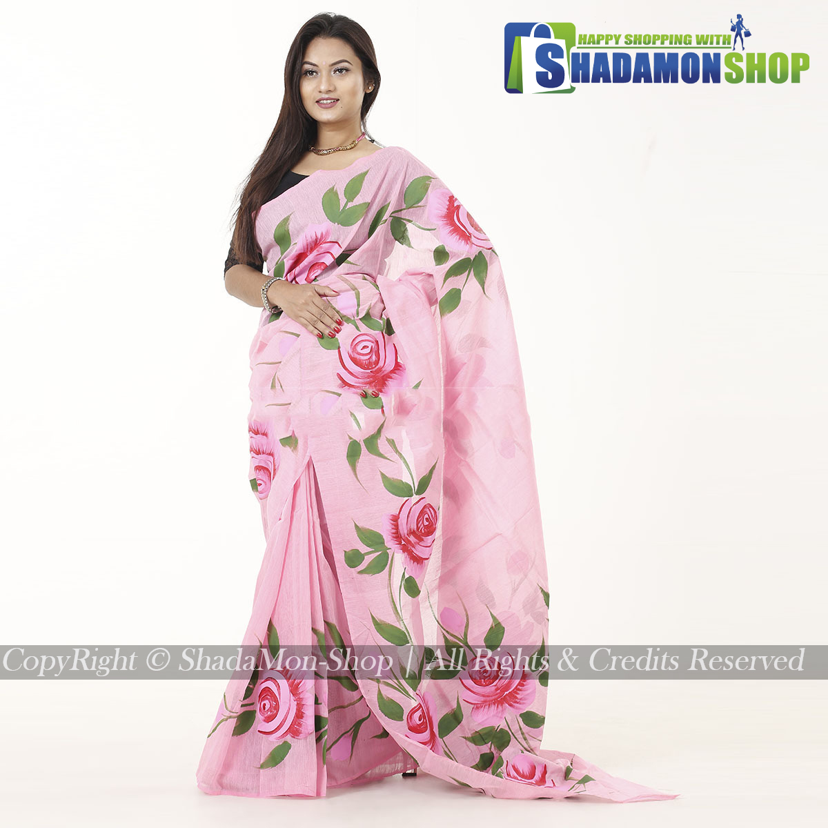 Hand Printed Half Silk Sharee For Women