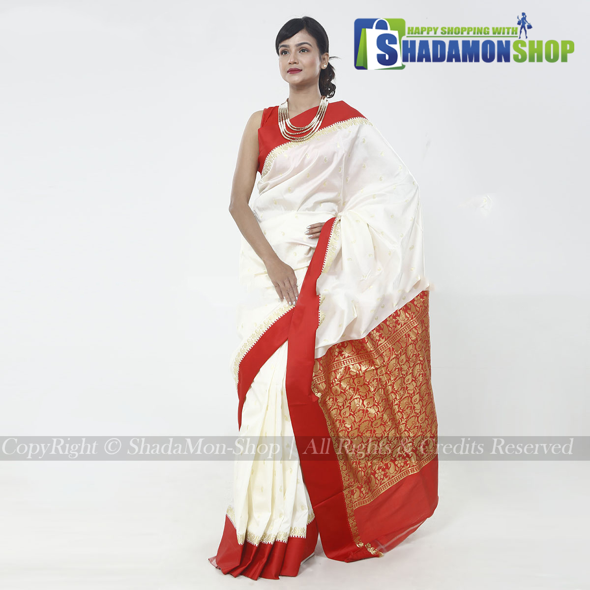 Indian Colour White And Red Pure Silk Katan Sharee For...