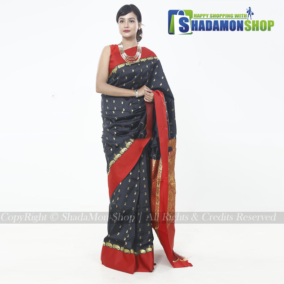 Indian Colour Black And Red Pure Silk Katan Sharee For...
