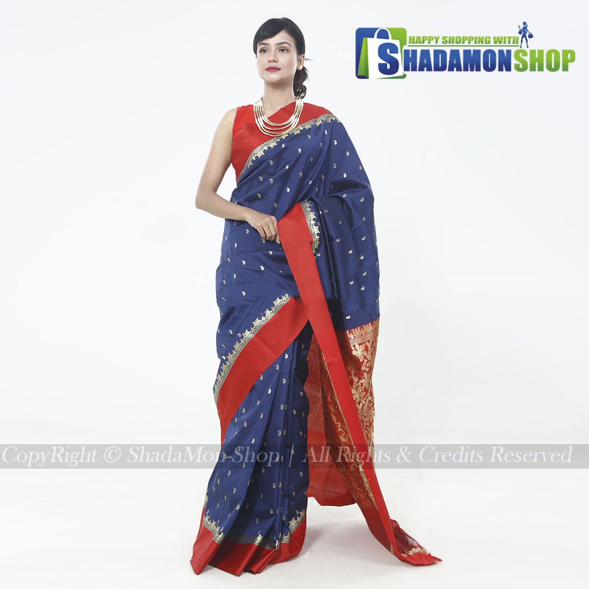 Indian Colour Blue And Red Pure Silk Katan Sharee For...