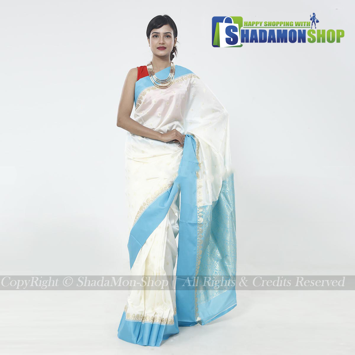 Indian Colour White And Blue Pure Silk Katan Sharee For...