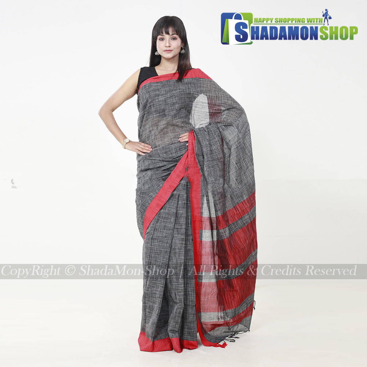 Jhorna Soft Cotton Sharee Silver And Red