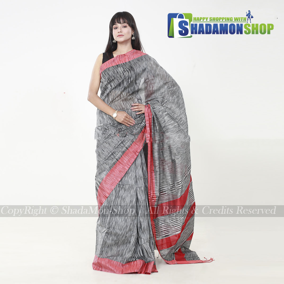 Jhorna Soft Cotton Sharee light Silver And Red