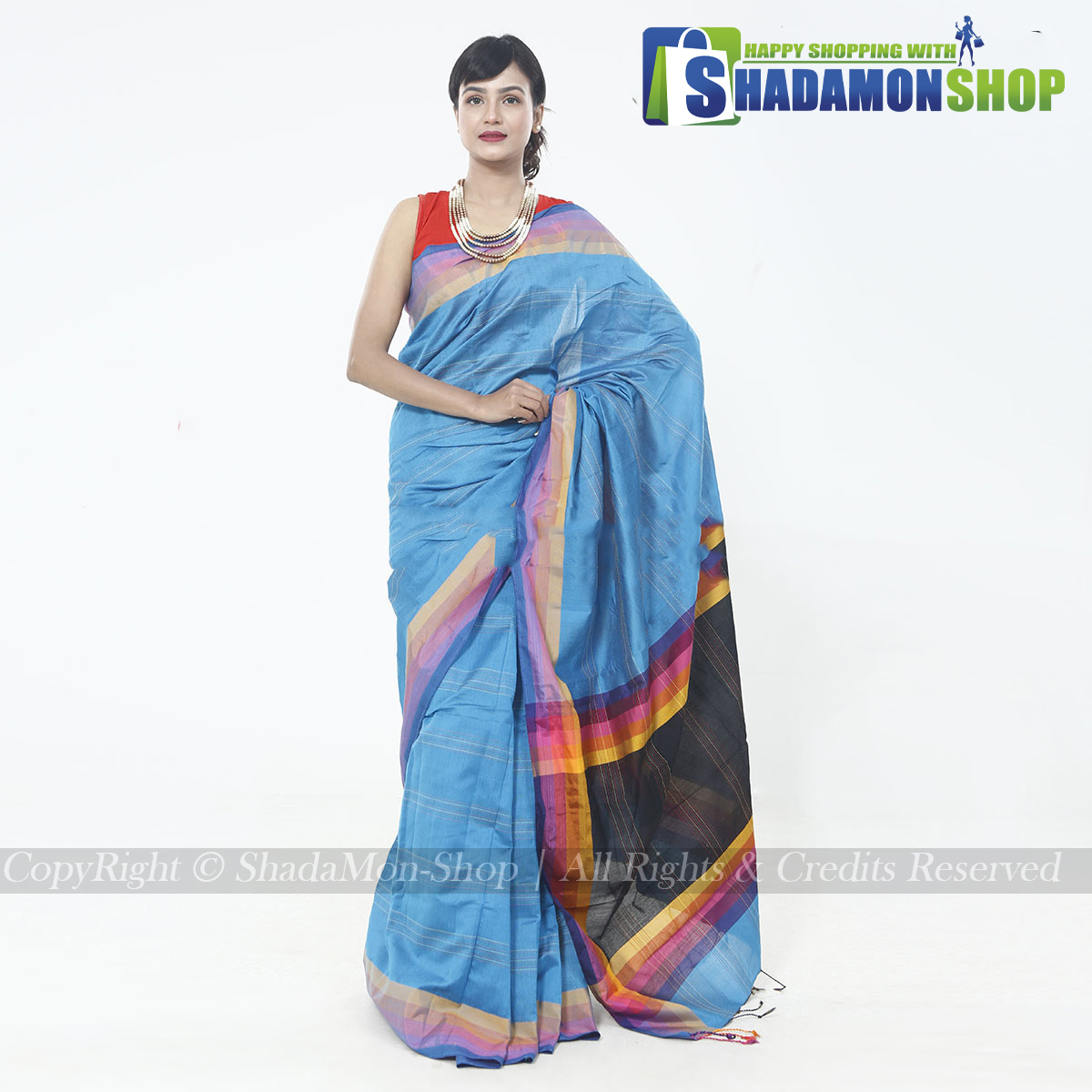 Katha Pattern Exclusive Sharee Blue Colour