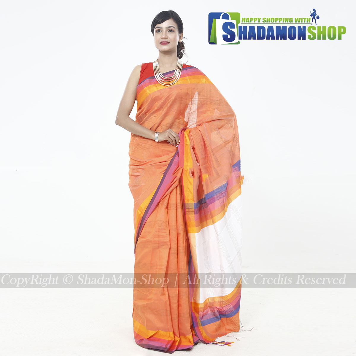 Katha Pattern Exclusive Sharee Orange Colour