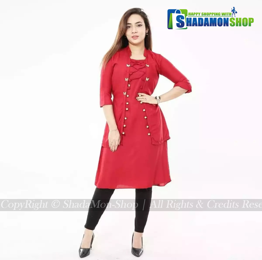 New Stylish Red Colour Butterfly Kurti