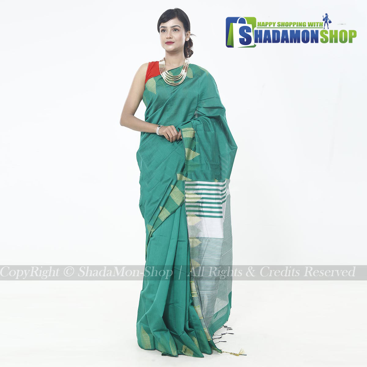 Moni Puri Silk Sharee Green Colour