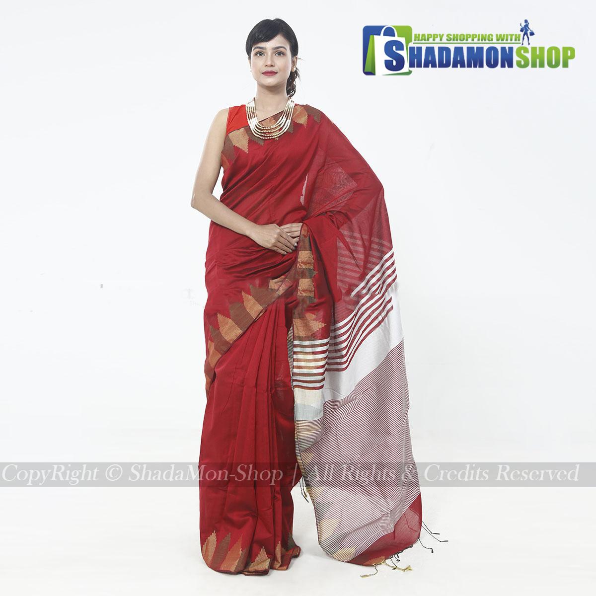 Moni Puri Silk Sharee Maroon  Colour