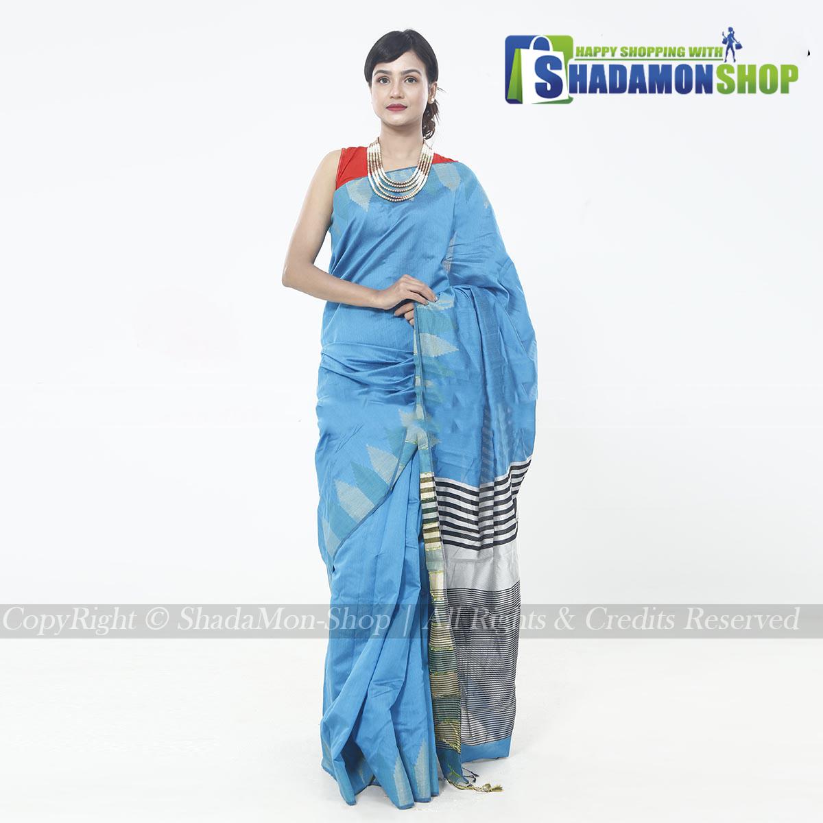Moni Puri Silk Sharee Sky Blue Colour