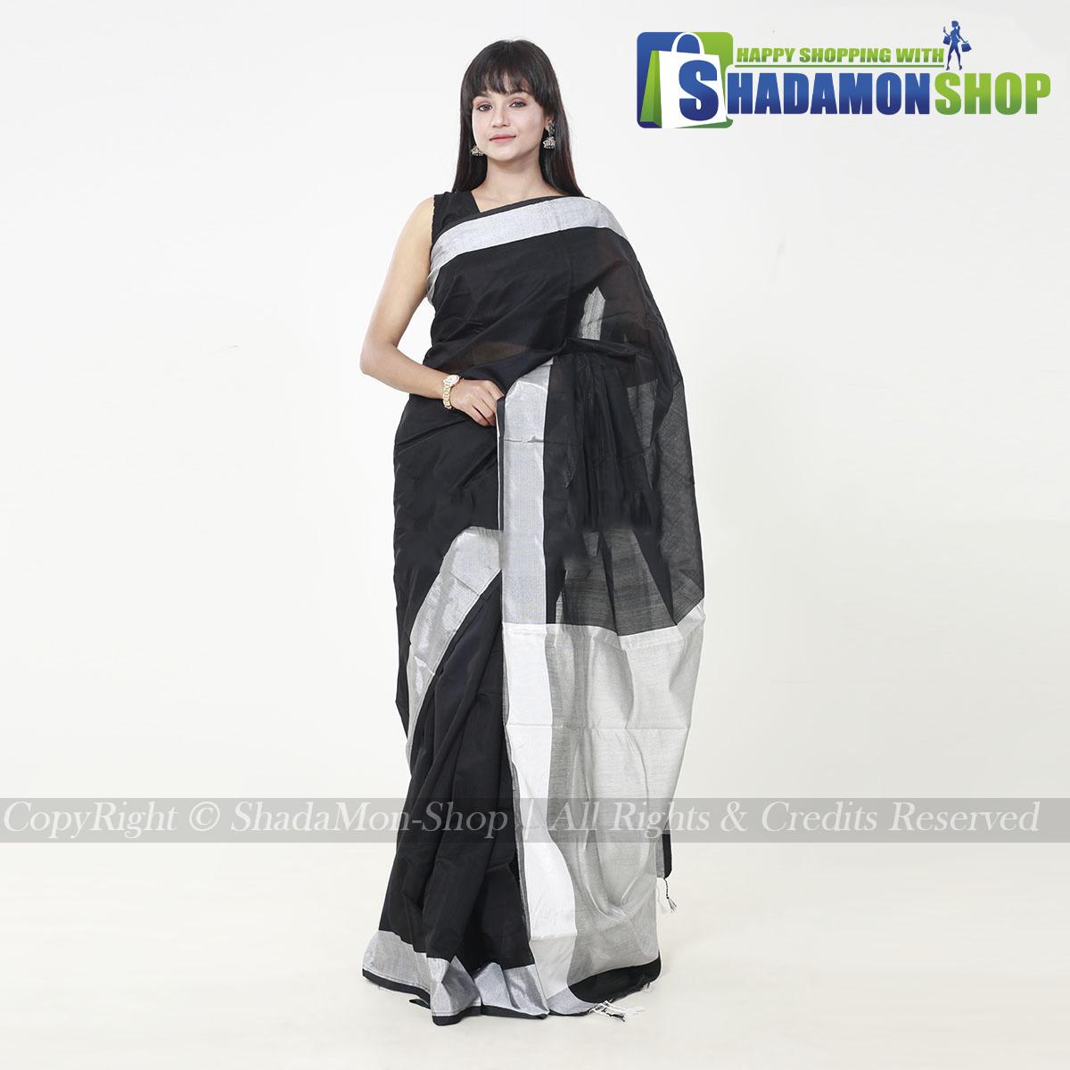 VIP Soft Half Silk Sharee Black And Silver
