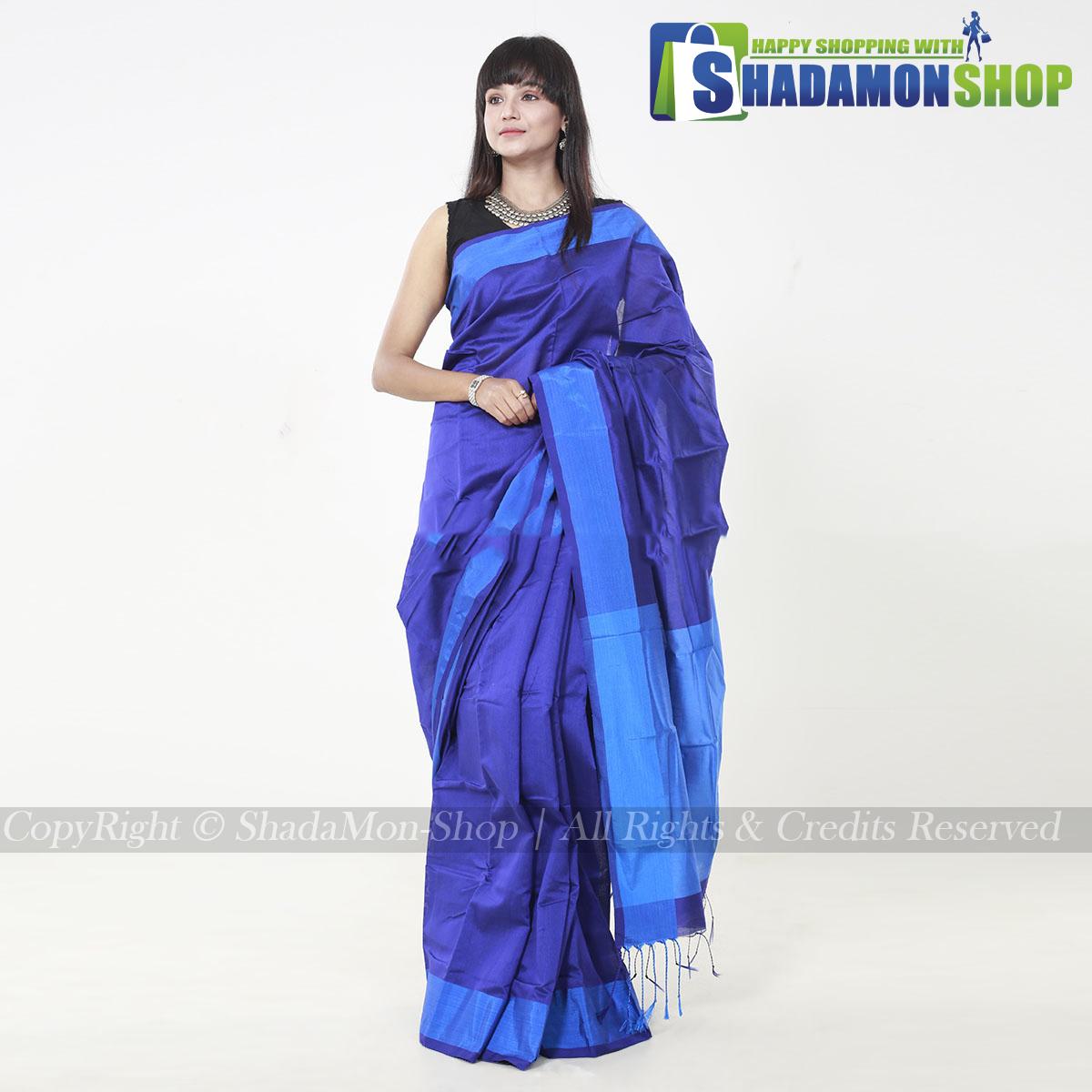 VIP Soft Half Silk Sharee Deep Blue And Blue